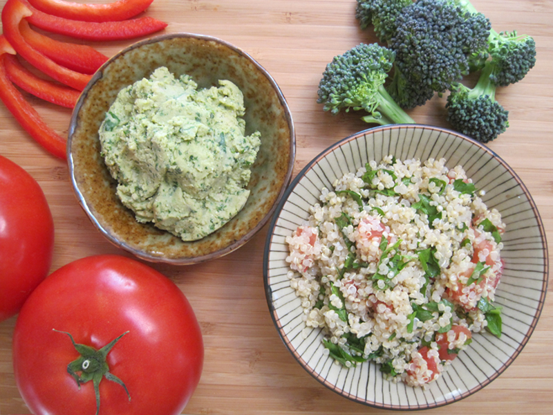 Image about quinoa tabbouleh and hummus   Bazilian