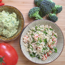 Image about quinoa tabbouleh and hummus recipe | Bazilians